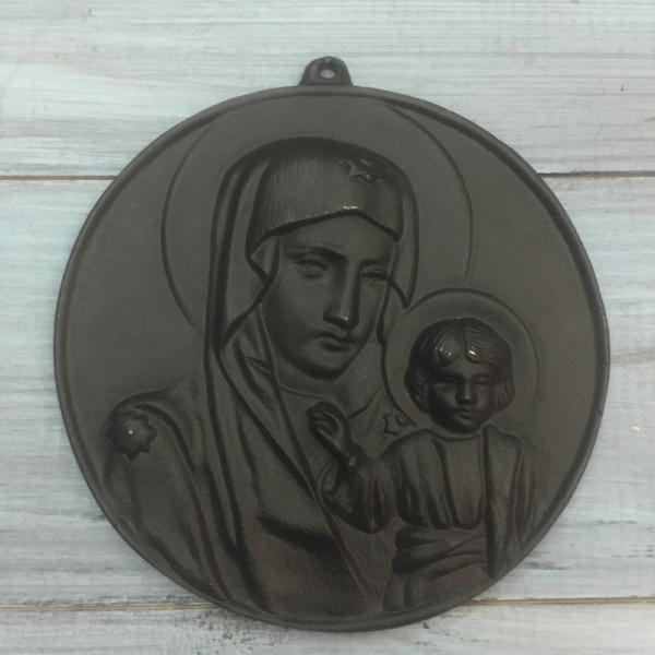 """Икона """"Казанская Божья матерь"""", литье Касли."""