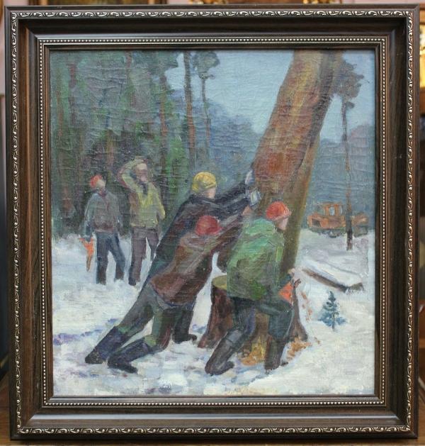 """Картина """"Лес валят"""", СССР, 50-е г."""