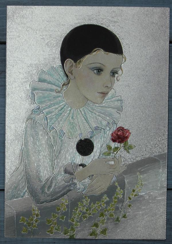 "Открытка ""Пьеро с розой на балконе"", Англия, кон. ХХ в."