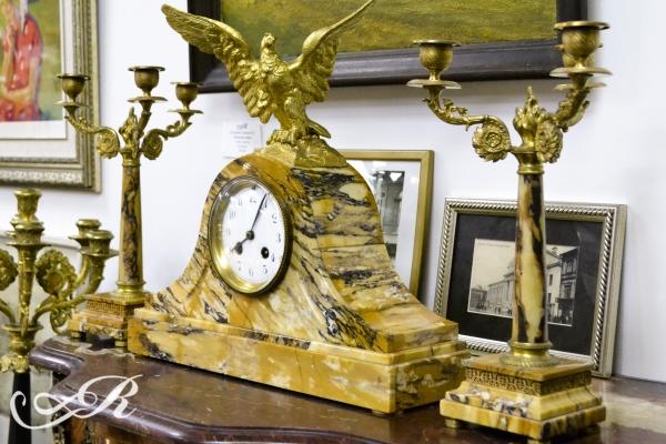 """Каминный сет часы """"Орел"""", Европа 1-ая пол. ХХ в."""