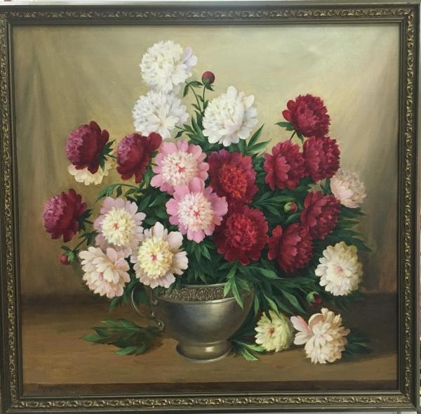 """Картина """"Пионы"""", художник Неустроев С.В., 1994 год"""