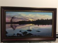 Картина «Закат на озере»,  худ. Бидыков М. 2002 г.