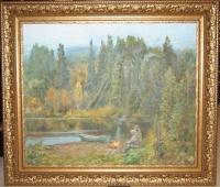 Картина «По таежной реке», художник Белов В.И.