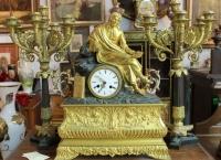"""Каминный сет часы """"Поэт""""  Европа нач. ХIX в."""