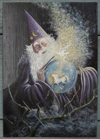 """Открытка """"Волшебник с единорогом"""", Англия, кон. ХХ в."""