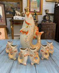 Коньячный набор «Рыбка», графин и 6 рюмок, фарфор, глазурь, золочение, Палонне, высота графина 26 см